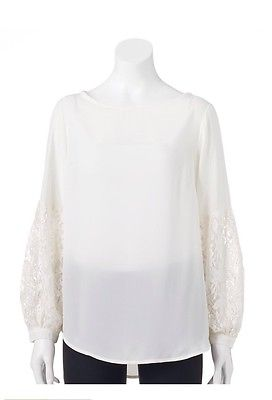 Off White, Winter White Sheer Blouse Lace Sleeves Size XL
