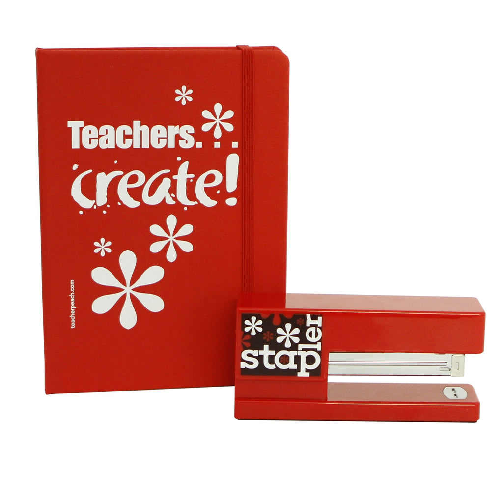 "Stapler and ""Teachers Create!"" Journal Red Duo Gift Set"