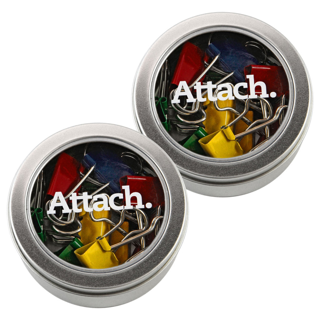 """Attach."" Colorful Binder Clips in Clear Round Tins"