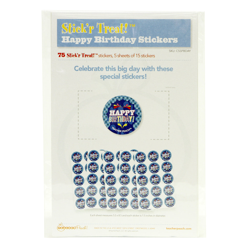 Stick'r Treat Happy Birthday Stickers 5 Sheet Pack