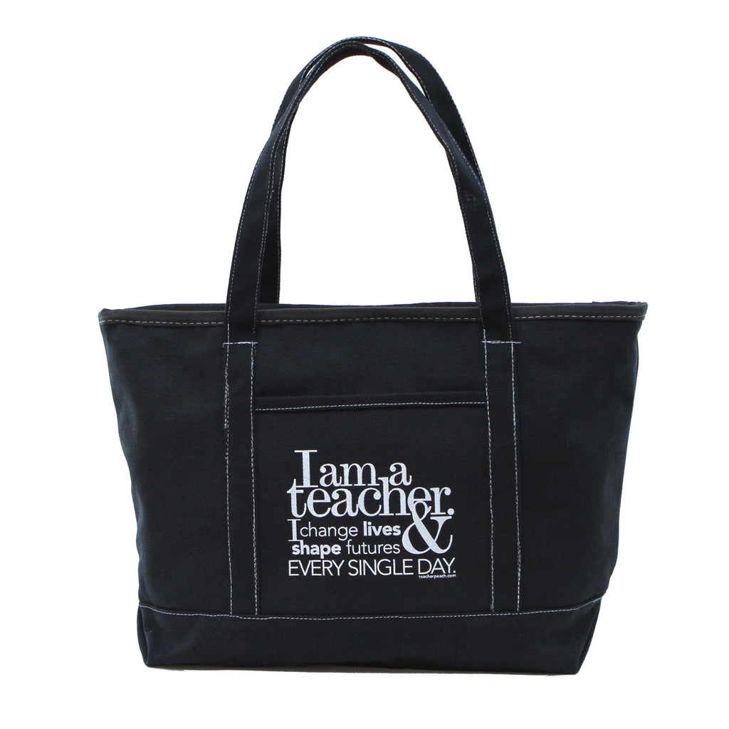 I am a teacher. Canvas Big Boat Tote - Black or Natural