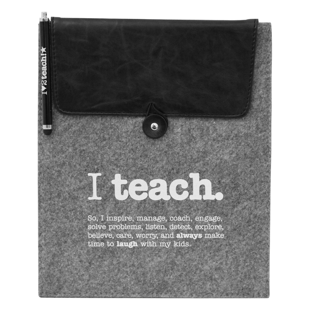 """I Teach."" Tablet Sleeve with Stylus Teacher Gift Set"