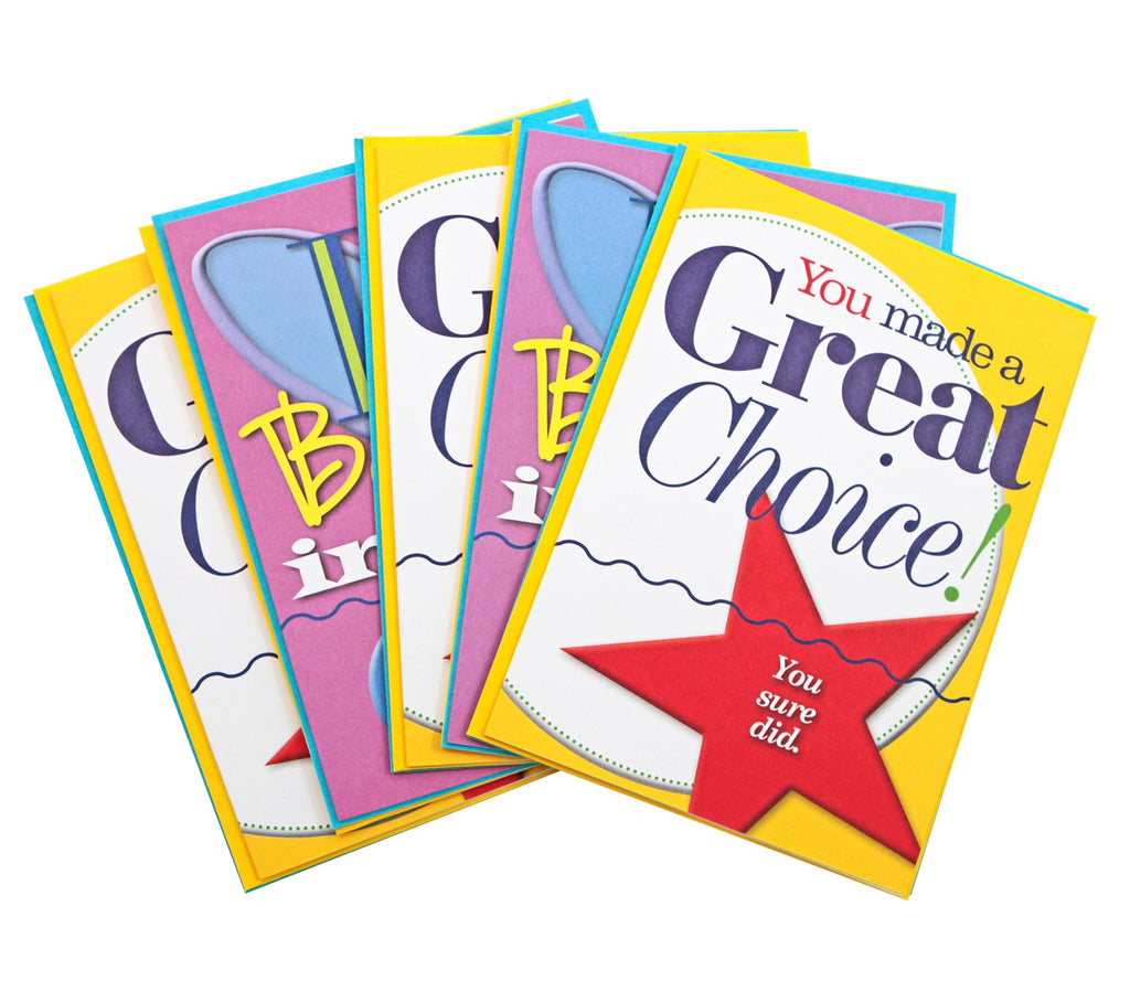"""You Made a Great Choice!"" and ""I Believe in You!"" Oversized Greeting Cards"