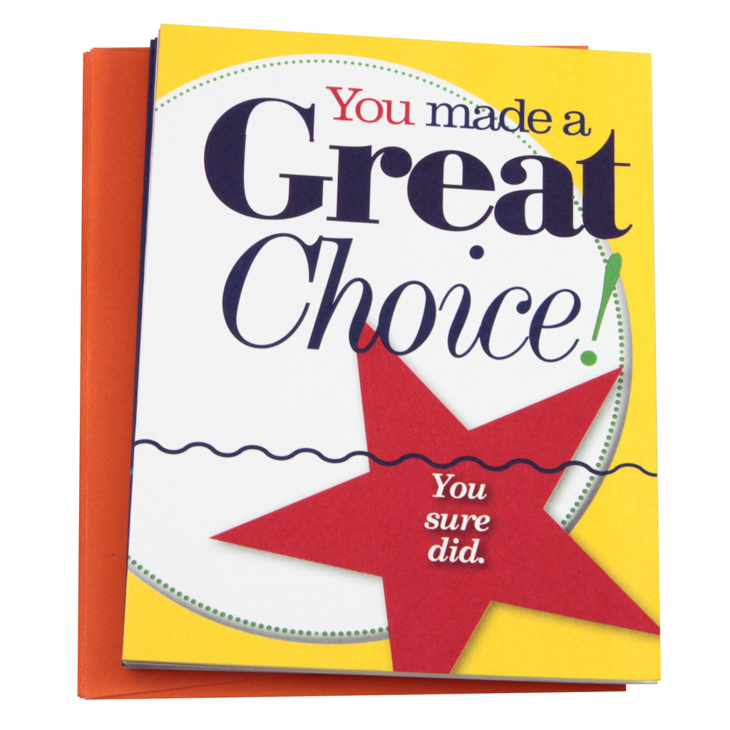 """You Made a Great Choice!"" Note Cards"