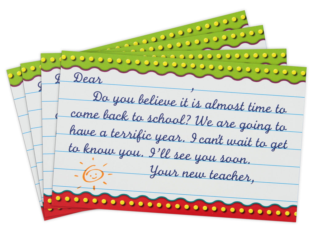 Back-to-School Postcards in Cursive-Style Script for Intermediate Grades