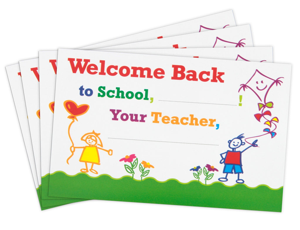 Welcome-Back-to-School Postcards with Whimsical Artwork