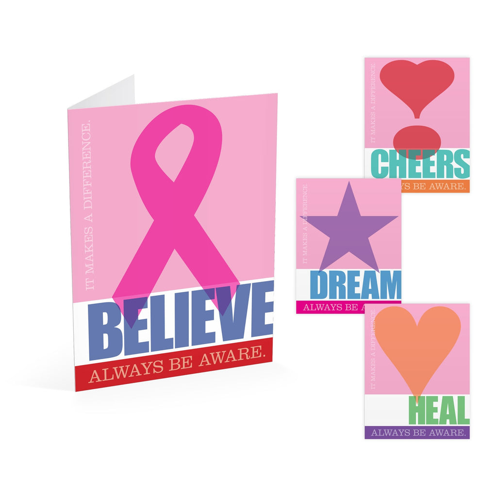 Pink Inspiration Note Cards: Believe, Cheers, Dream, Heal
