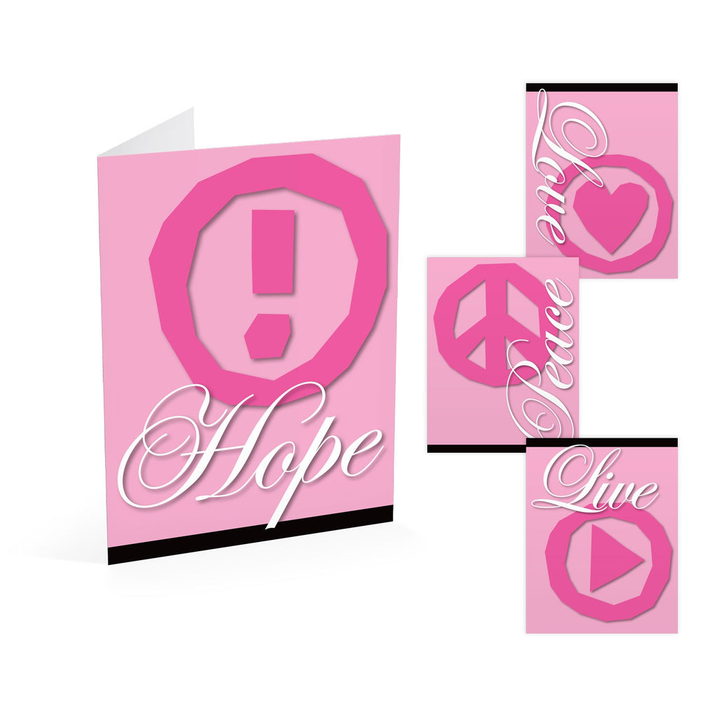 Pink Inspiration Note Cards: Hope, Peace, Live, Love
