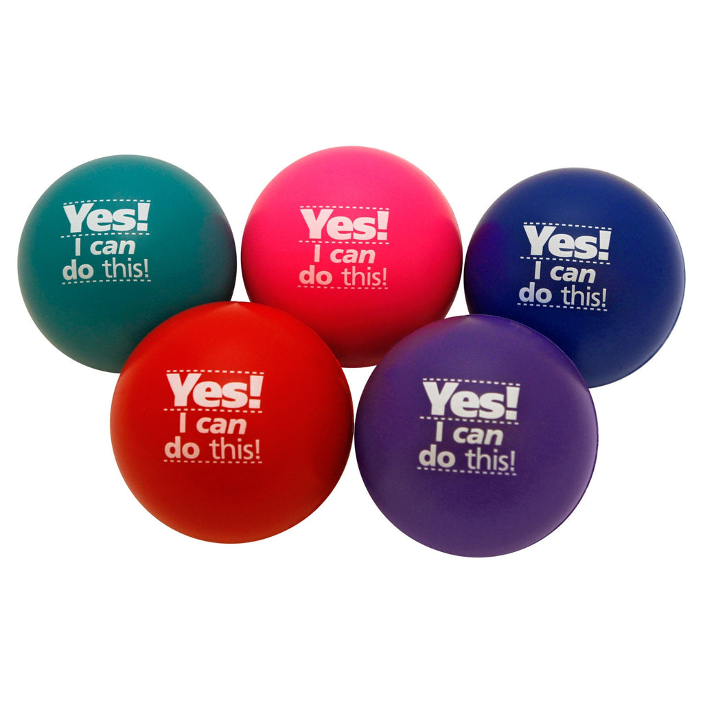 Stress Balls 5-Pack: Be Quiet. Be Calm. Be Kind. Focus. Listen. Breathe. Yes! I can do this!