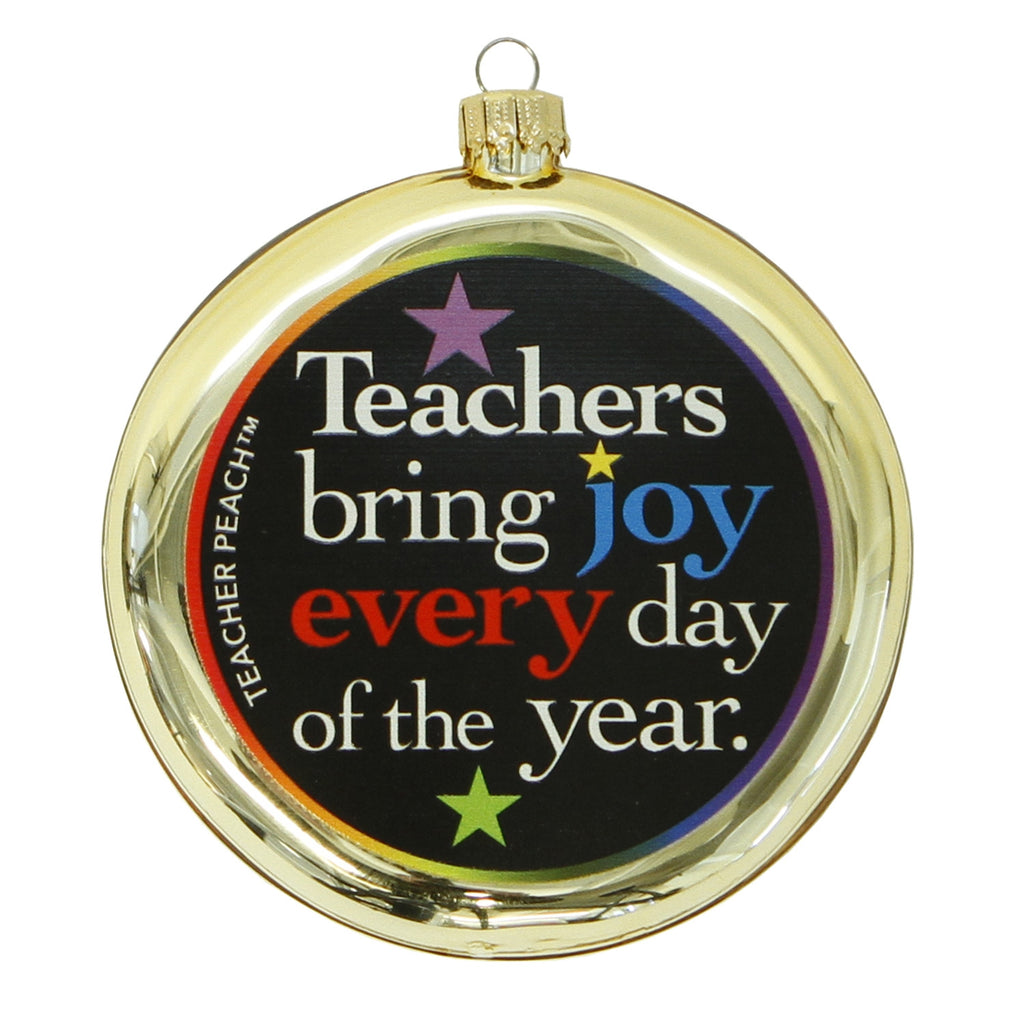 Teachers Bring Joy Glass Christmas Ornament (Assorted Colors)