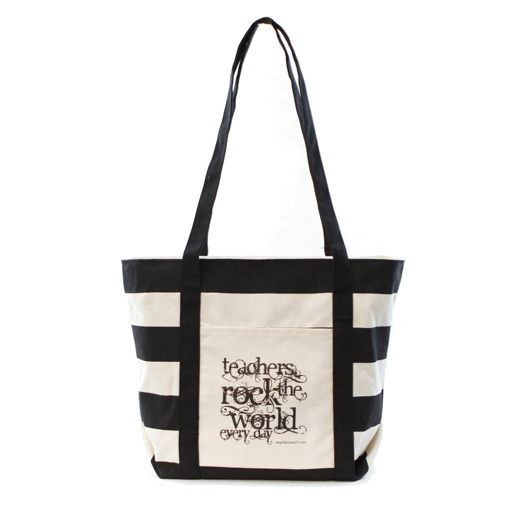 Teachers Rock Canvas Striped Boat Tote