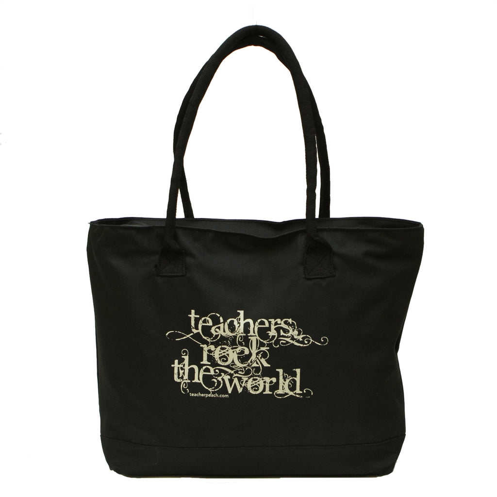 Teachers Rock the World Zippered Tote