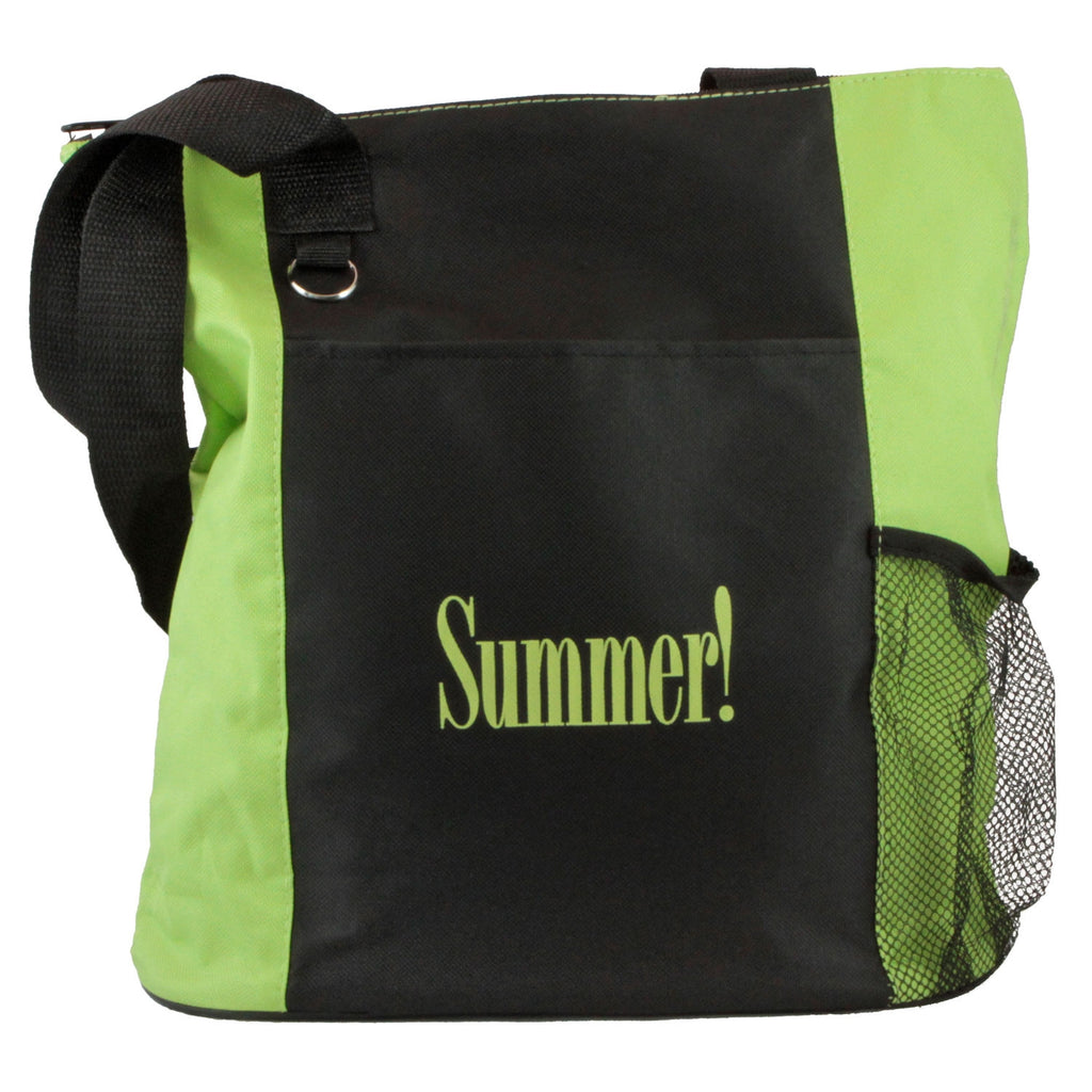 """Summer!"" Black and Lime Green Tote with Side Pocket for Water Bottle"