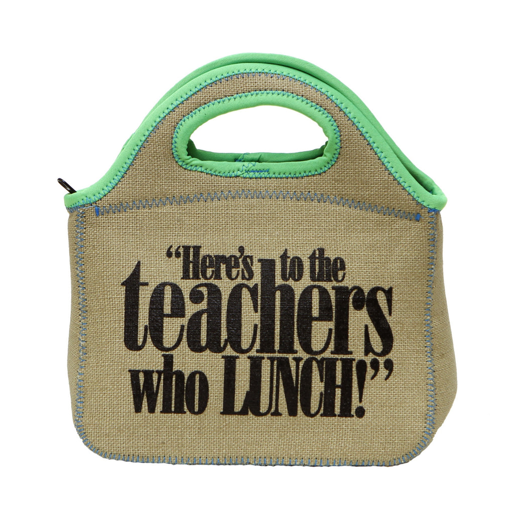 """Teachers Who Lunch"" Zippered Burlap Lunch Bag (assorted colors)"