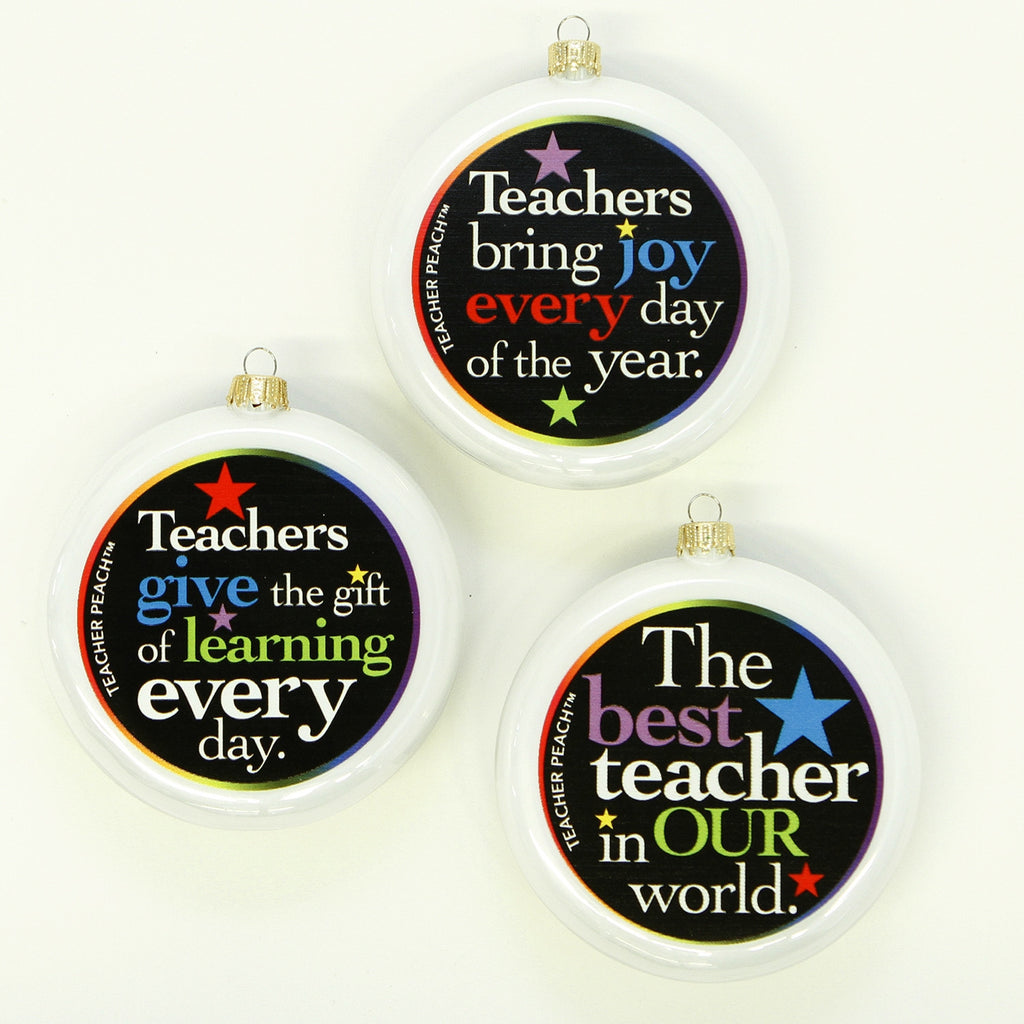 Teacher Glass Christmas Ornaments Set of 3 (Pearl White)