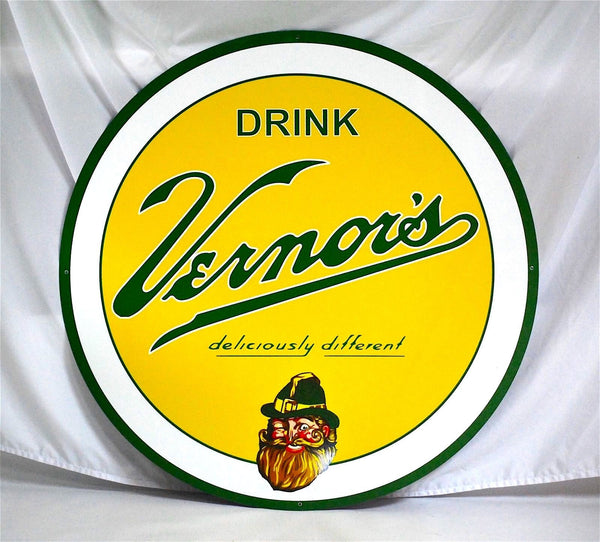 "Vernor's 36"" Round Metal Sign"