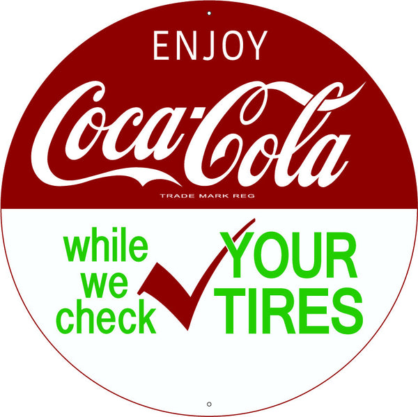"Coca-Cola 14"" Round Metal Sign"