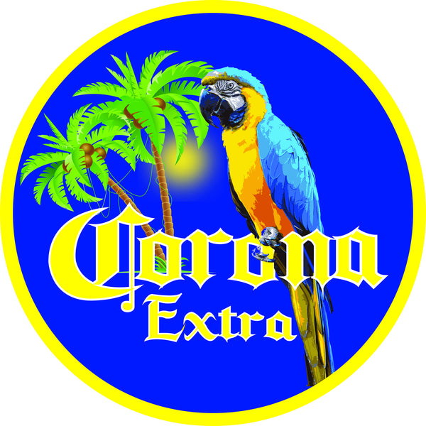 "Corona Parrot Palm Tree 7"" Round Metal Sign"