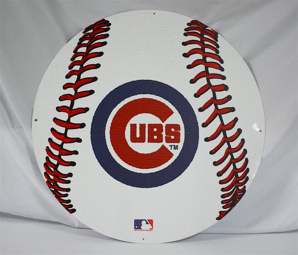 "Chicago Cubs 24"" Baseball Tin Sign"