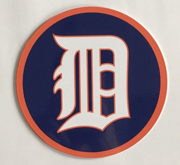 "Detroit Tigers 7"" Round Metal English D Sign"