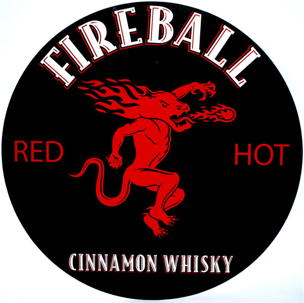 "Fireball Red Hot 24"" Tin Sign"