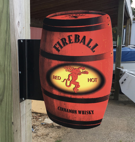 Fireball Barrel Double-Sided Pub Sign