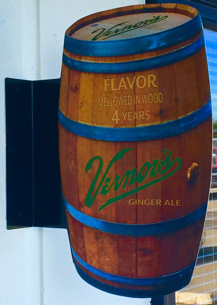 Vernor's Double-Sided Barrel Pub Sign