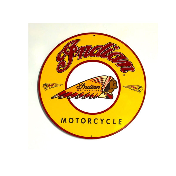 "Indian Motorcycle 7"" Round Metal Sign"