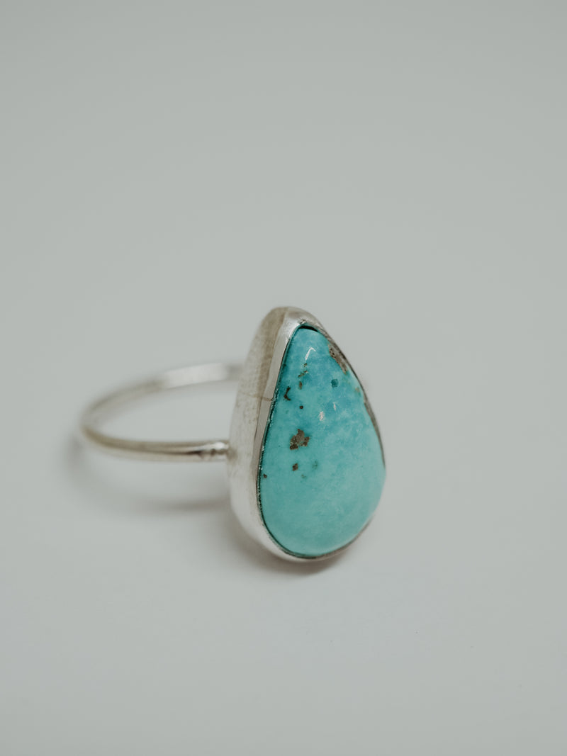 silver turquoise ring | 5.5