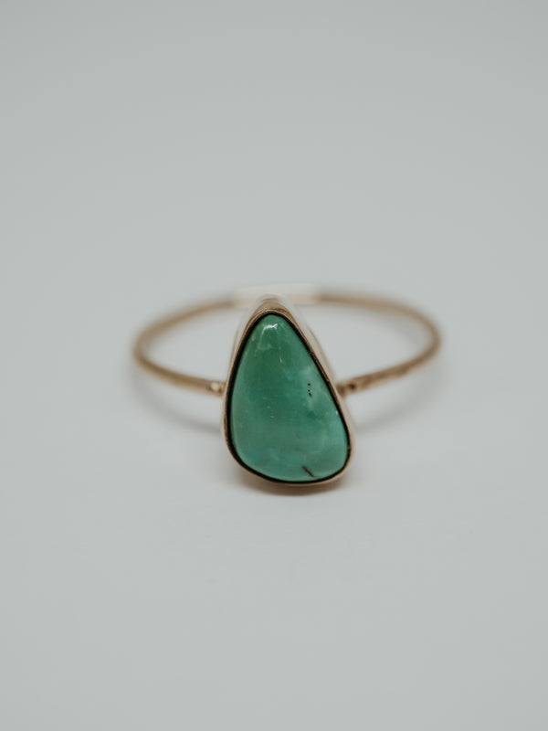 gold triangle turquoise ring | 6.75