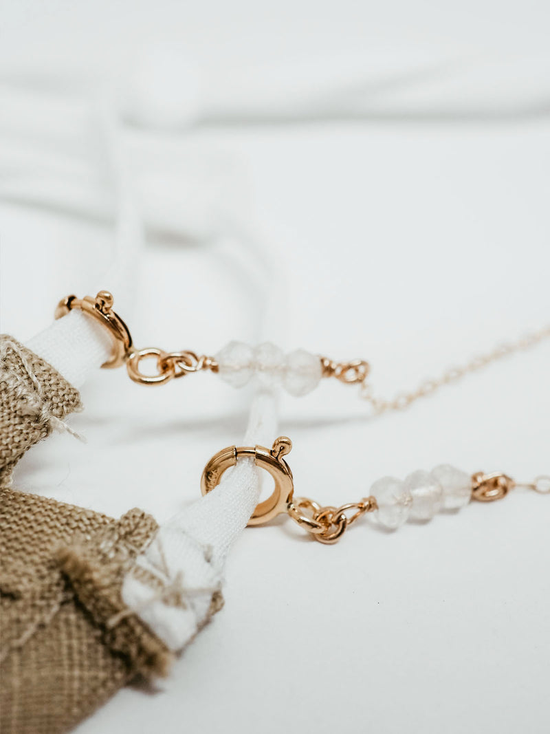 mask chain | gold fill | moonstone
