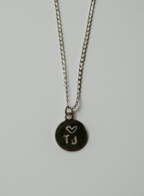 custom circle stamped necklace