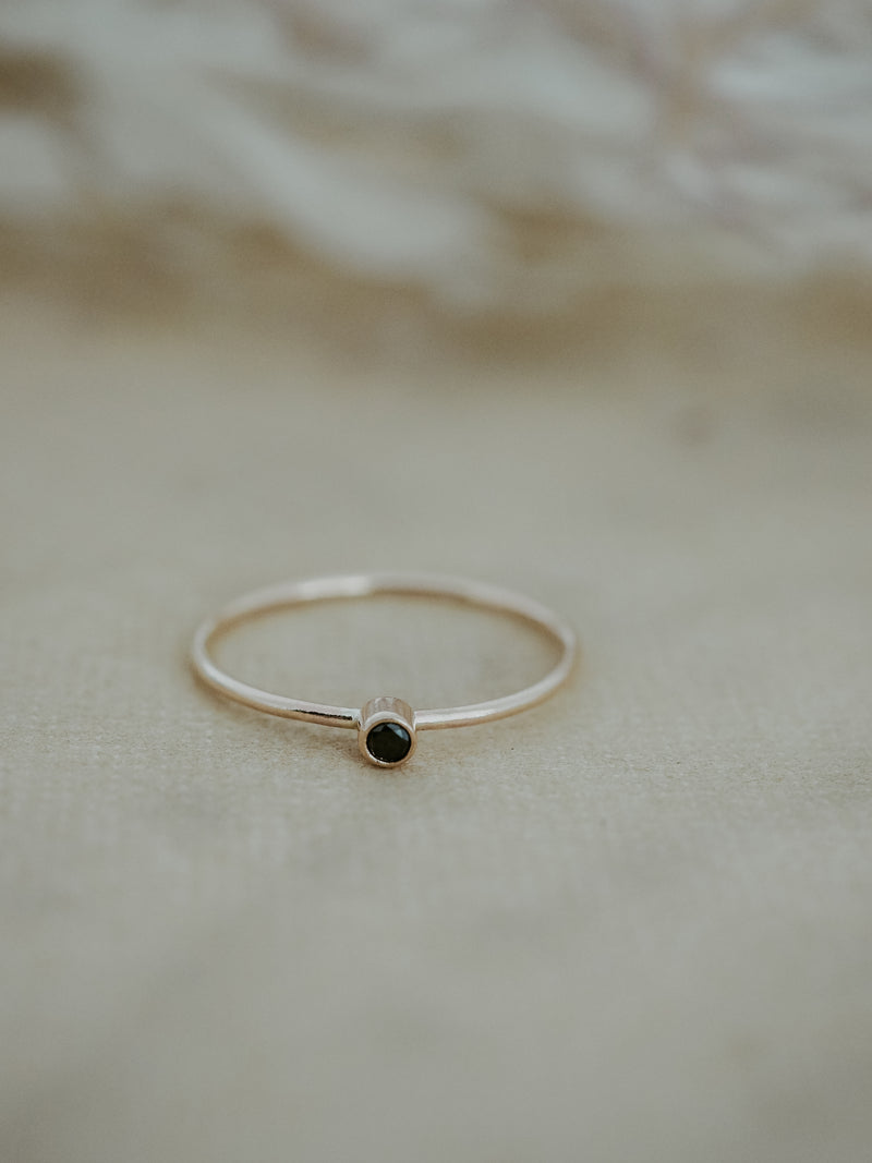 tiny diamond ring | black or white