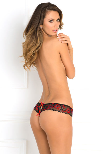 René Rofé Sexy Lingerie 1028-RED Crotchless Cross-Dyed Lace & Mesh Thong with Bows-Back view