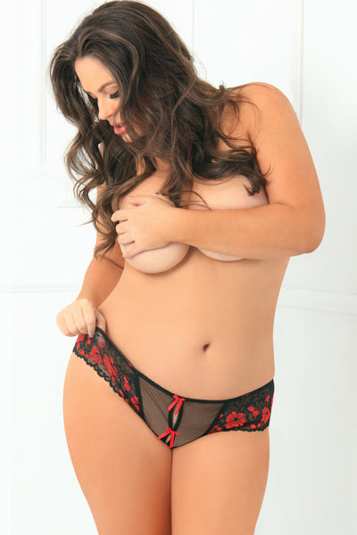 1028X-RED Crotchless Lace Thong Panty with Bows - René Rofé Sexy Lingerie - Front View