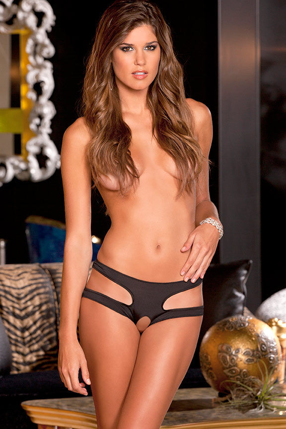 Rene Rofe Sexy Lingerie 1044-BLK Cut It Out Side Cutout Crotchless Panty-Front view
