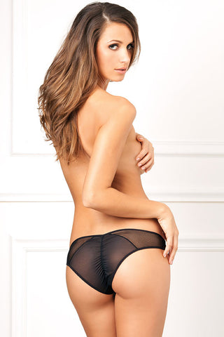René Rofé Sexy Lingerie 1073-BLK Crotchless Panty with Mesh and Back Ruching-Back View