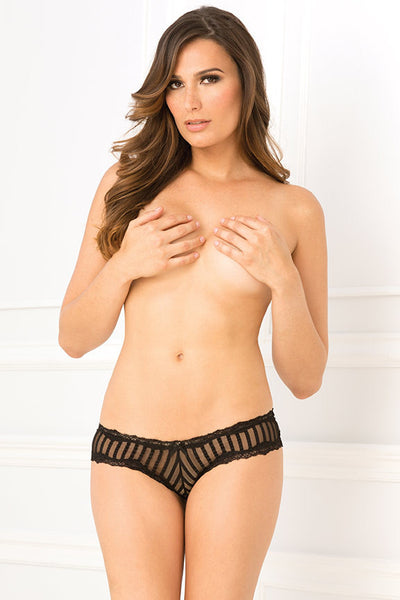 Crotchless Striped Mesh & Lace Panty