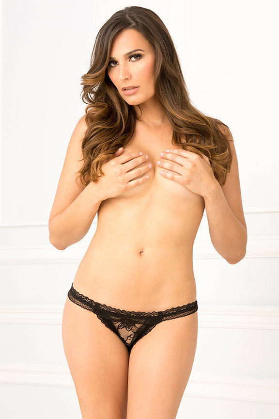René Rofé Sexy Lingerie 1110-Blk Crotchless Mesh & Lace Ruffle Panty-Front ew