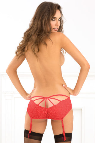 René Rofé Sexy Lingerie 1113-RED Love to Lust Crotchless Cage Back Lace Garter Panty-Back view