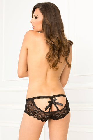 René Rofé Sexy Lingerie 1114-BLK Crotchless Open Back Lace Panty with Satin Bow-Back View