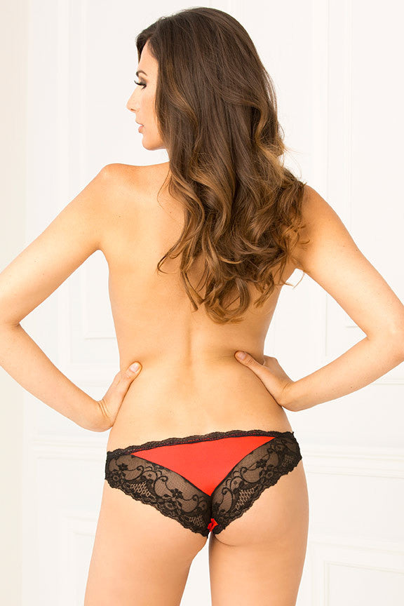 René Rofé Sexy Lingerie 1118-RED V-Day Crotchless Lace V Back Panty-Back View