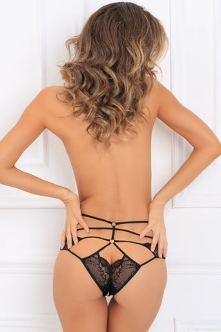 1139-BLK Own It Crotchless Lace Panty René Rofé Sexy Lingerie - back view