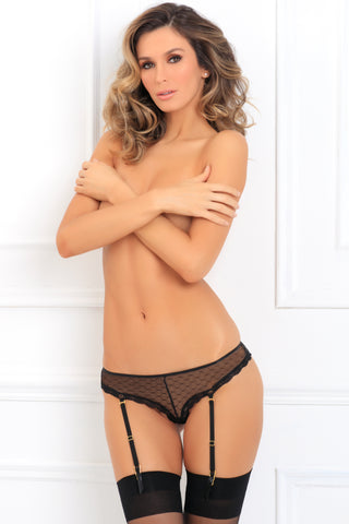 1140-BLK Wild Crotchless Garter Panty René Rofé Sexy Lingerie - front view