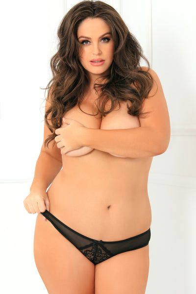 1141X-BLK Miss Behavior Crotchless Panty - René Rofé Sexy Lingerie - Front View