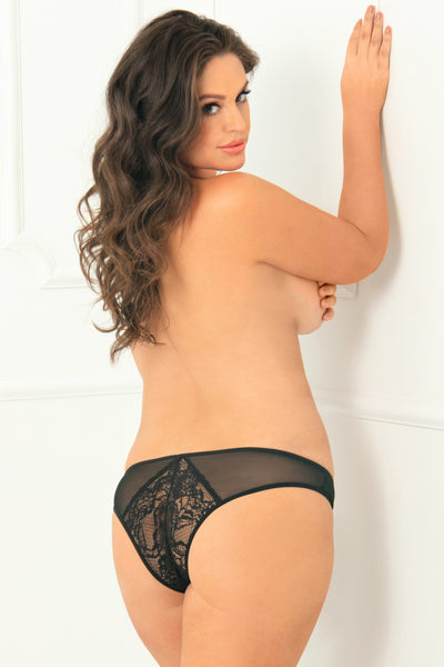 1141X-BLK Miss Behavior Crotchless Panty - René Rofé Sexy Lingerie - Back View