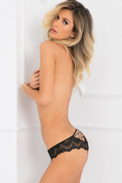 1145-BLK - Come Undone Crotchless Lace Crisscross Back Panty - René Rofé Sexy Lingerie - Side View