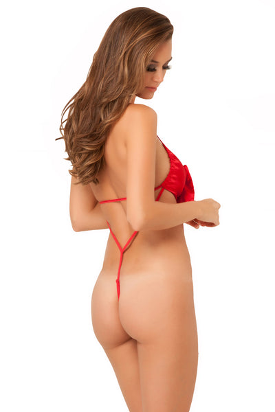 René Rofé Sexy Lingerie 20004-RED Unwrap Me Satin Bow Teddy-Back View