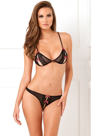 21195<br>Two Piece Lace Peek A Boo Bra & Crotchless Thong Set