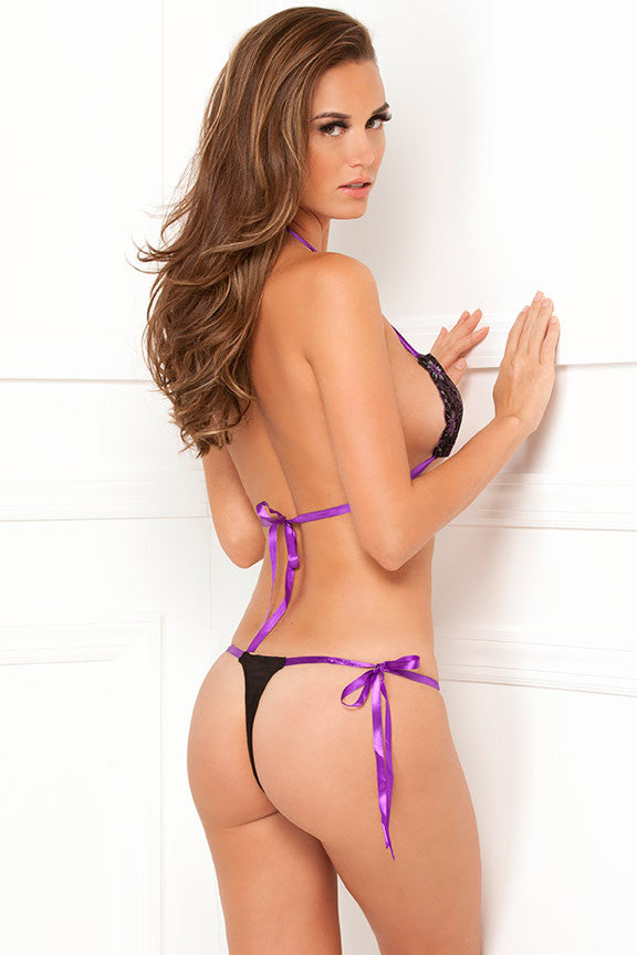 René Rofé Sexy Lingerie 301188-BLK Two Piece Tie-Back Lace Bra and Side-Tie Thong Set-Back View